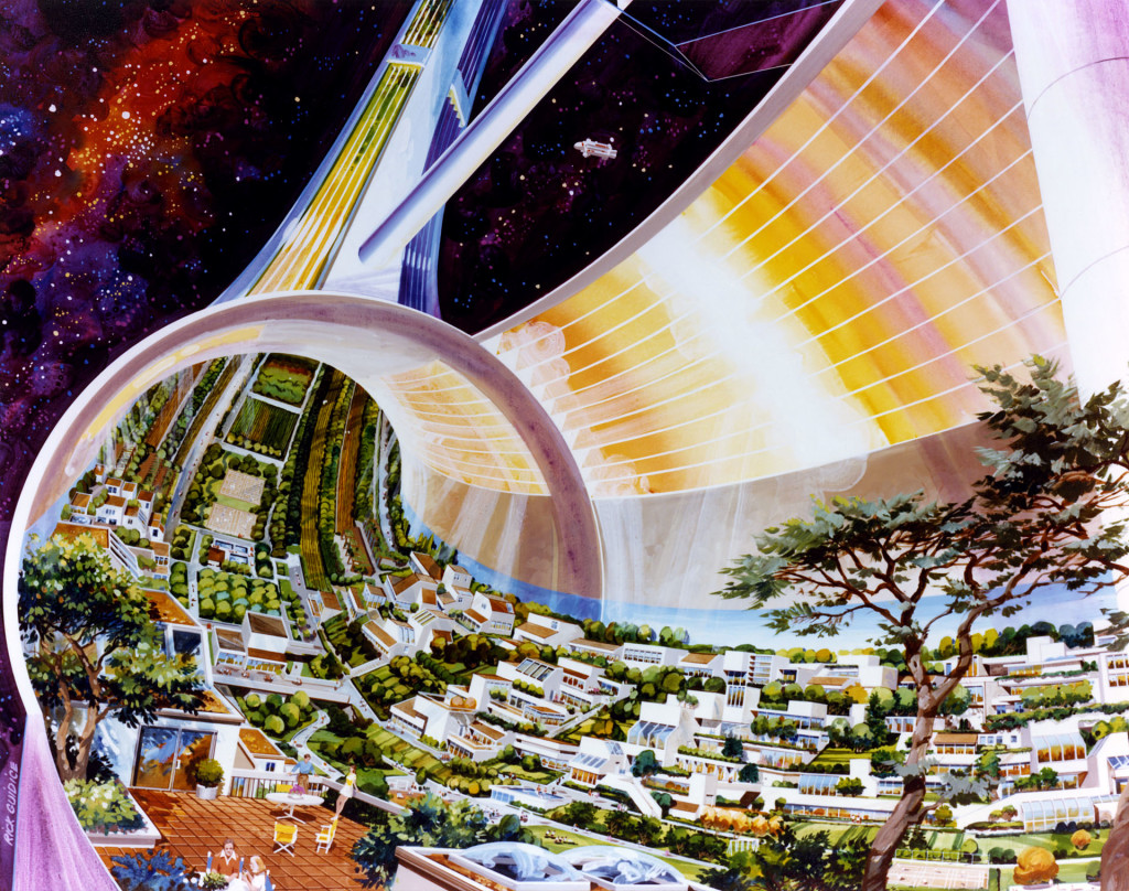Standard cut-away of the inside of a Torus space colony,